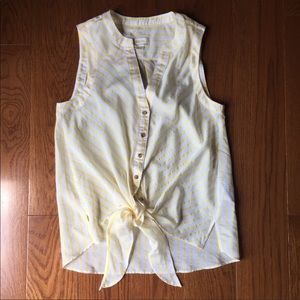 Anthropologie yellow stripe tie front tank